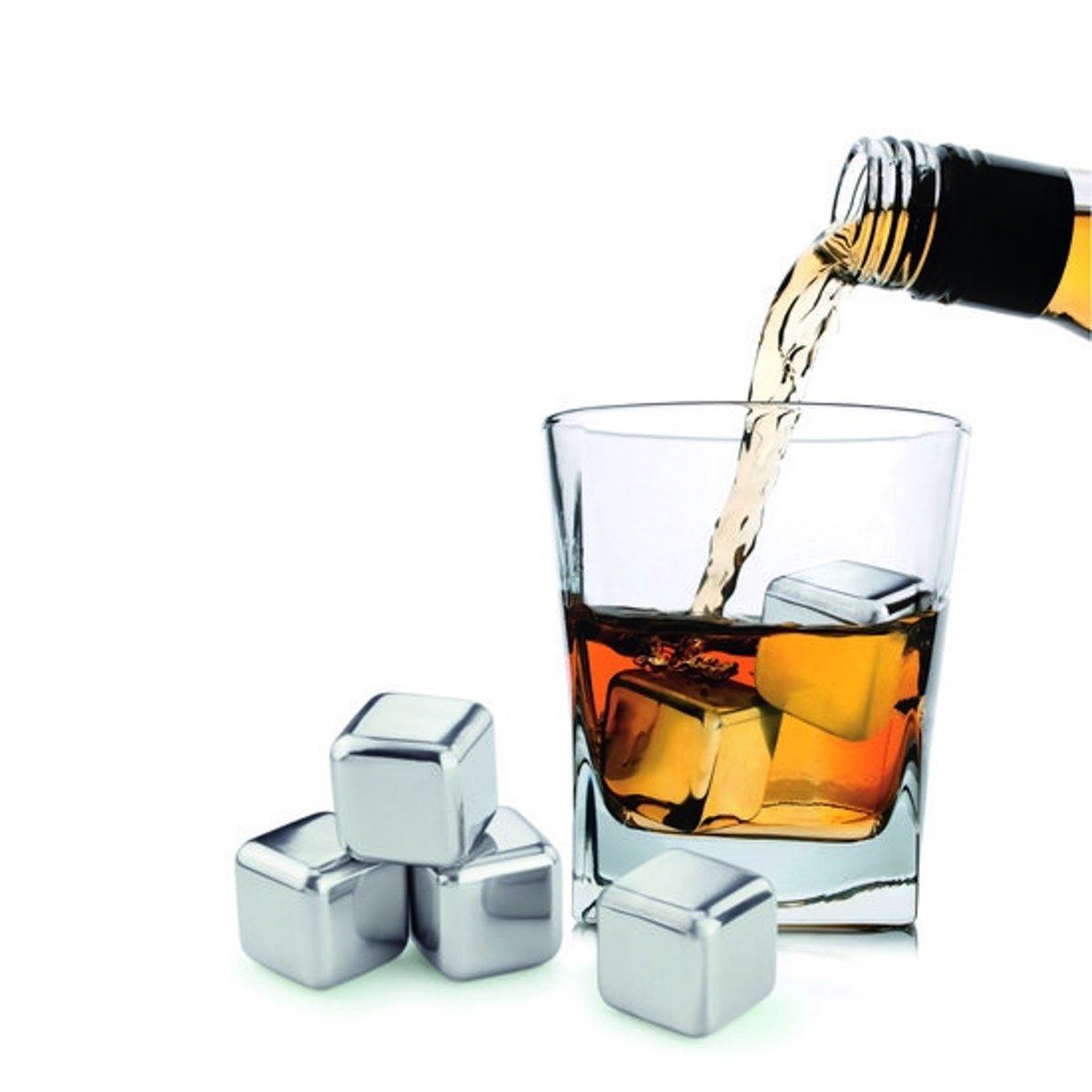 Whiskey Stones Ijsblokken - RVS Wiskey Stenen - Whisky Ijsblokjes Ice Cub Koelstenen kopen