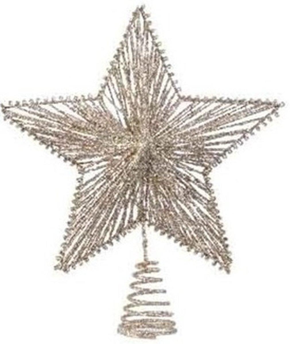 Champagne kleur sterren piek ijzer 25 cm - Champagne kleur kerstboom versieringen kopen