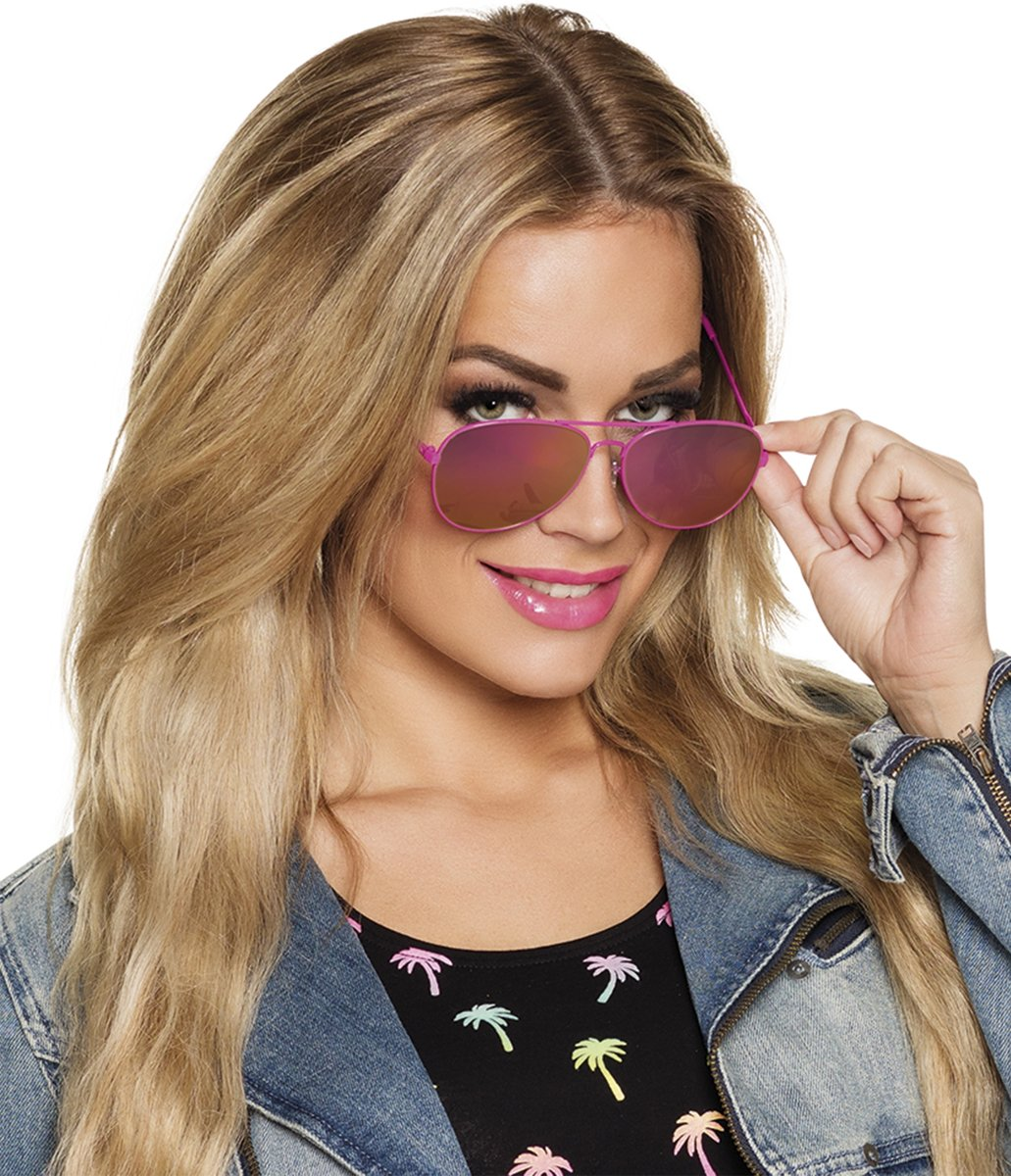 Vliegenier bril met roze frame voor volwassenen - Verkleedattribuut kopen