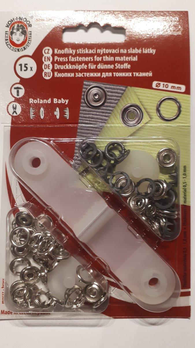 Babydrukkers Donkergrijs. Open ronde drukknopen. 10mm doorsnee.