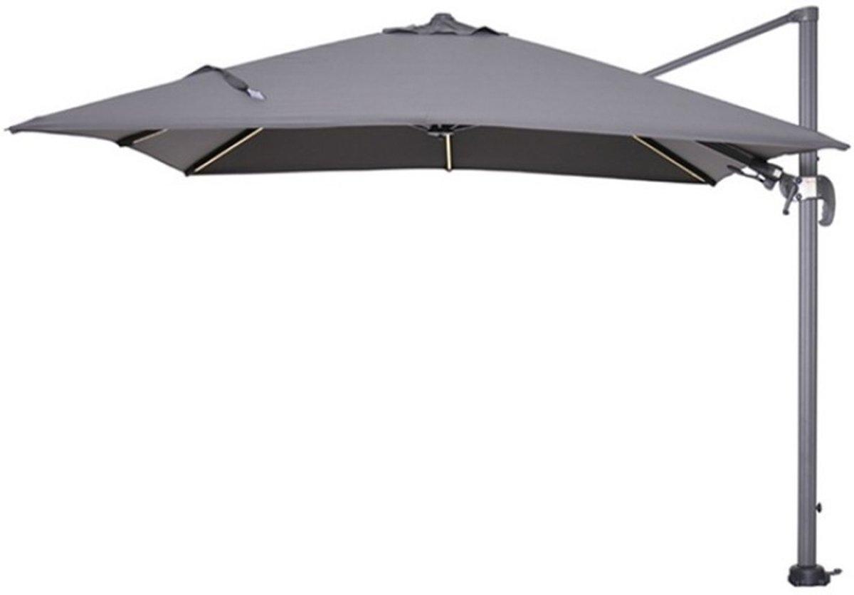 Hawaii Lumen LED parasol - zweefparasol 3x3 meter - carbon black/donker grijs - Garden Impressions