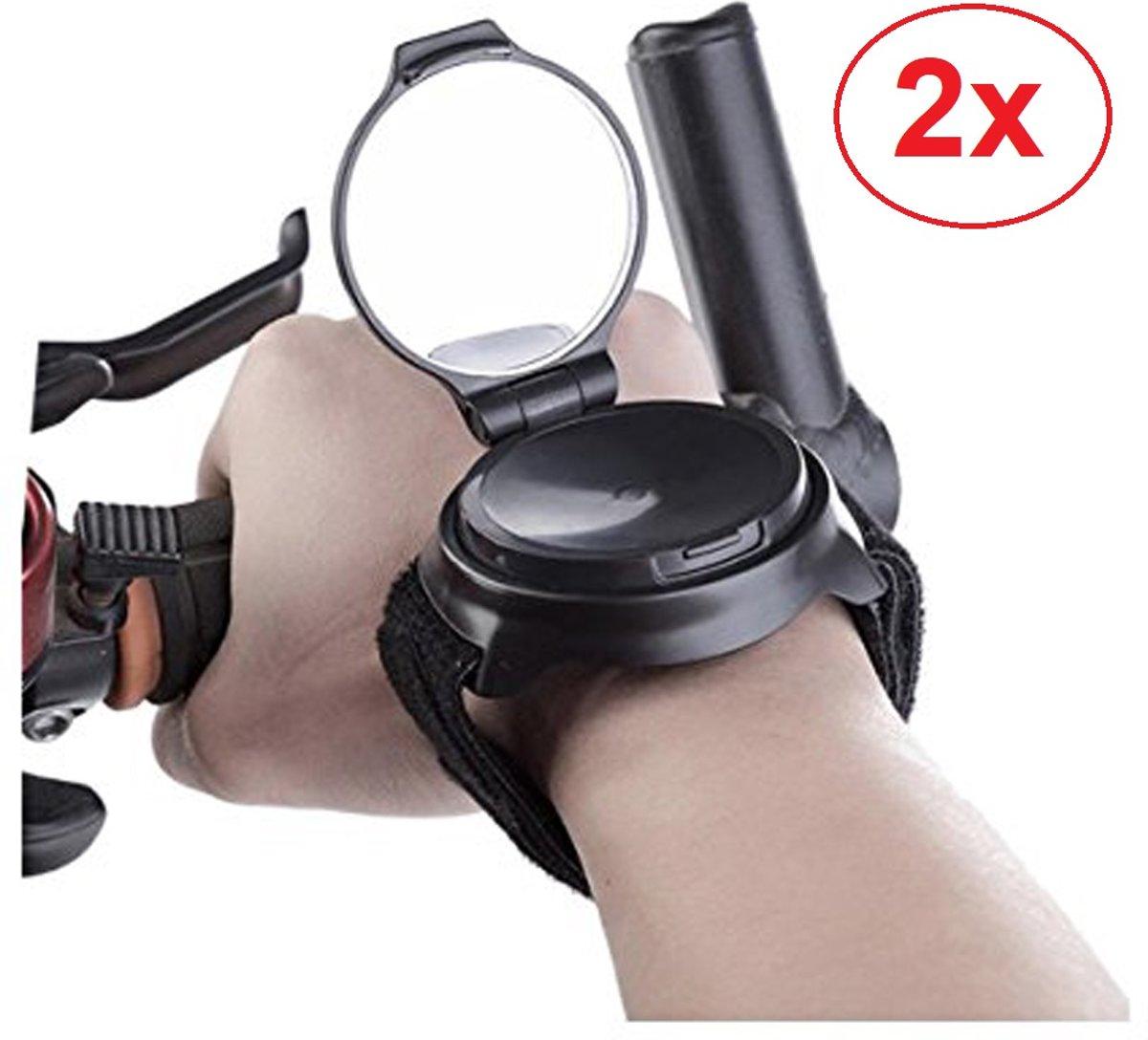 2 x Fietsspiegel armband 360º roterend- achteruitkijkspiegel fiets - mountainbike accessoires - fietsspiegelpolsband – fiets armspiegel