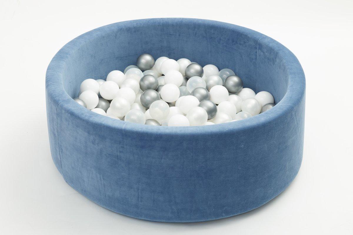 FUJL - Ballenbak - Speelbak - Donker blauw - ⌀ 90 cm - 200 ballen - Kleuren - Zilver - Parel  -Wit - Transparant