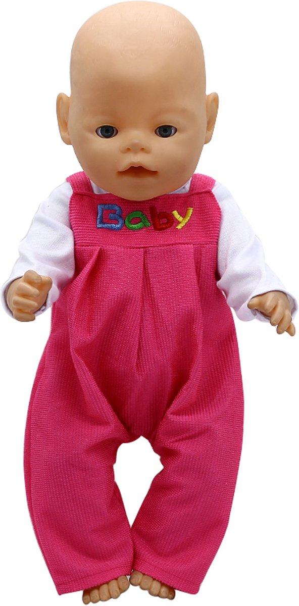 Roze boxpakje met wit shirt voor pop 40 -45 cm zoals Baby Born - Poppenkleertjes meisje