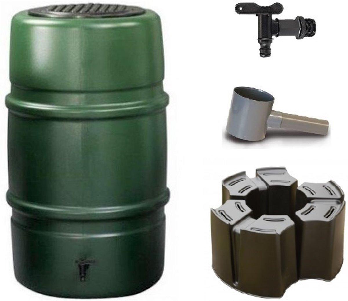 Regenton voordeelset | Harcostar 227liter groen + Harcostar standaard + Harcostar vulautomaat 70/80mm. Goedkope regentonset met kindveilig deksel incl