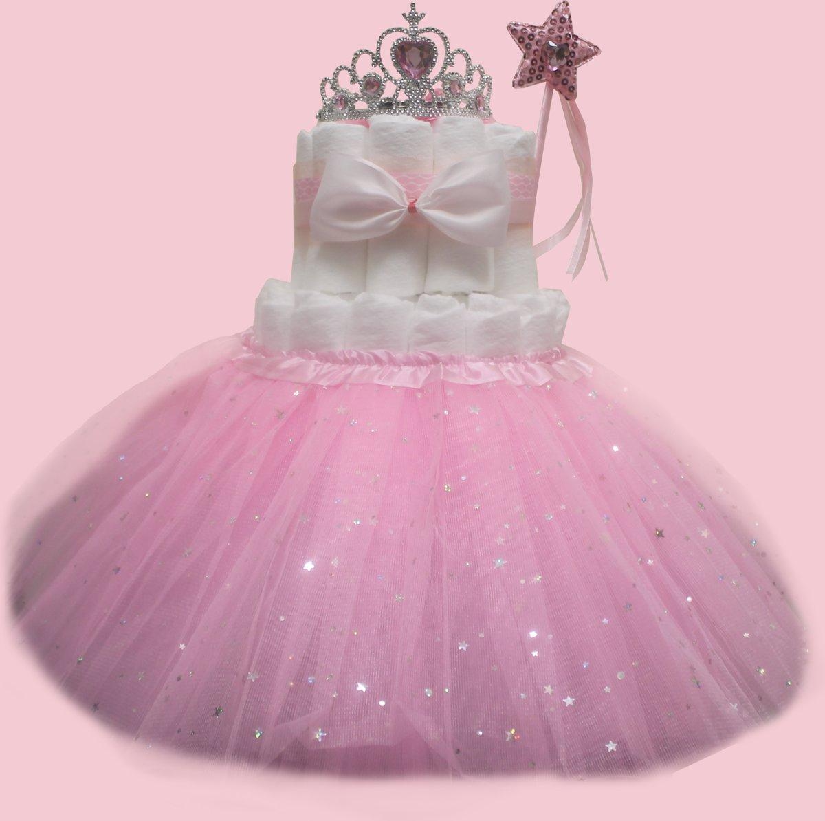 Pampertaart / luiertaart meisjes 2-laags Prinses met roze rokje maat 1 (2-5kg)