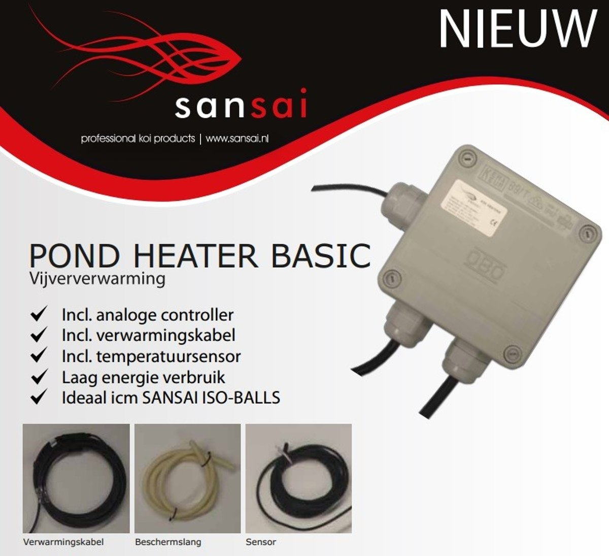 Sansai Pond Heater Basic 180 - 180W, 1m3 - 6m3, 6m kopen