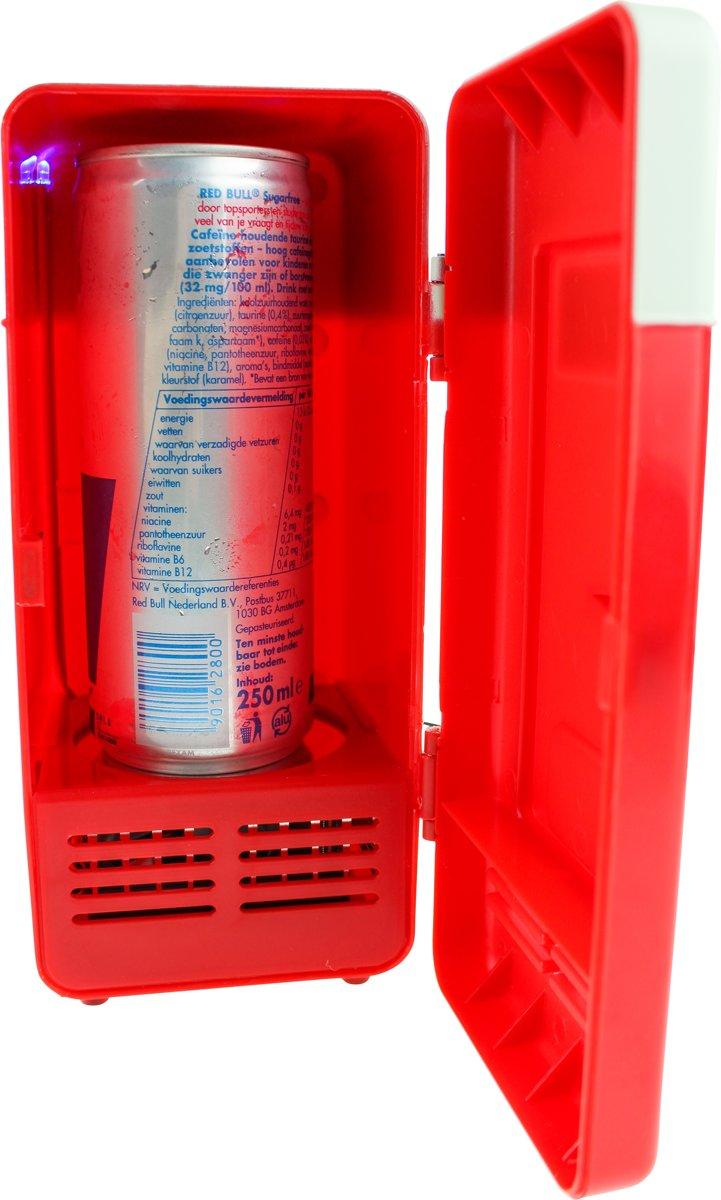 USB Bureau Koelkast met LED Lampje - Rood