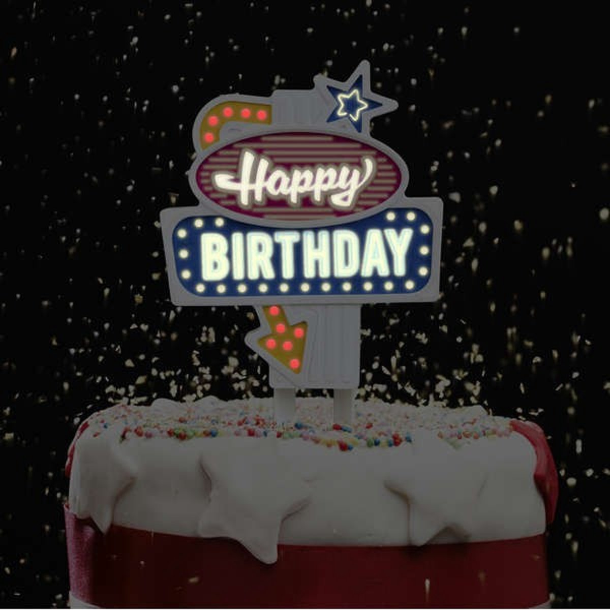 "Knipperende taart decoratie ""Happy Birthday"" - Flashing Cake Topper ""Happy Birthday"" kopen"