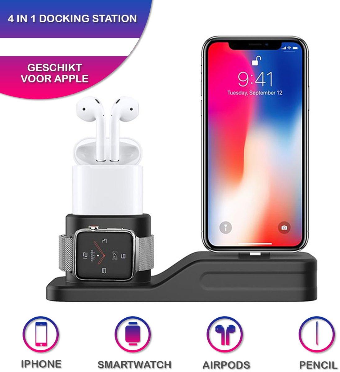 4 in 1 Docking Station - Oplaadstation - 4 In 1 -  Oplaadstation Iphone - Geschikt voor Apple IPhone/Airpods/Watch/Pencil kopen