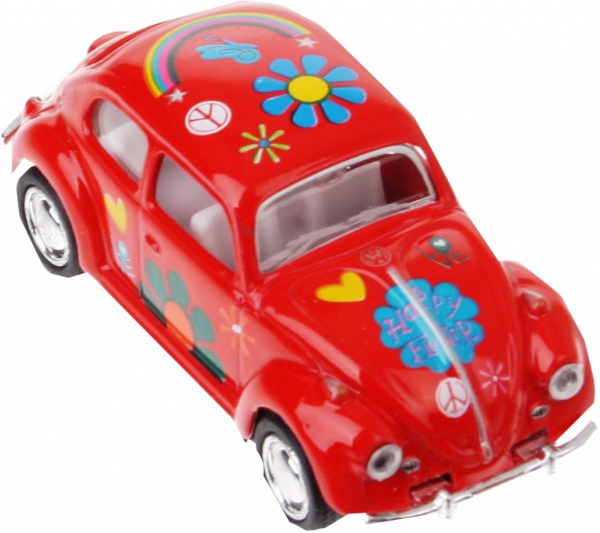 Welly Metalen volkswagen klassieke kever (1967): rood bloemen