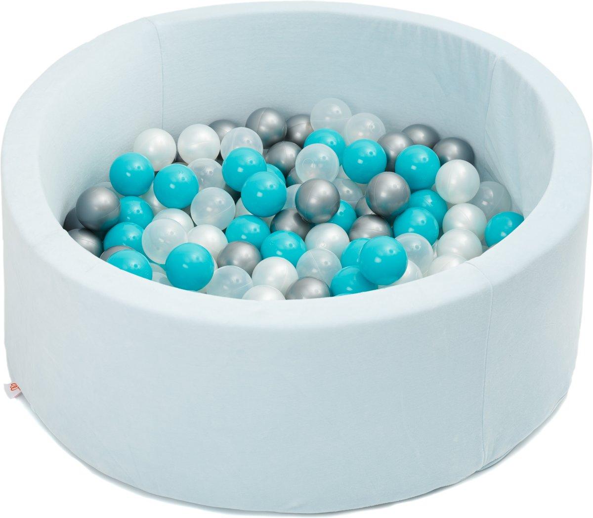 FUJL - Ballenbak - Speelbak - Licht blauw - ⌀ 90 cm - 200 ballen - Kleuren - Zilver - Parel  -Turquoise - Transparant