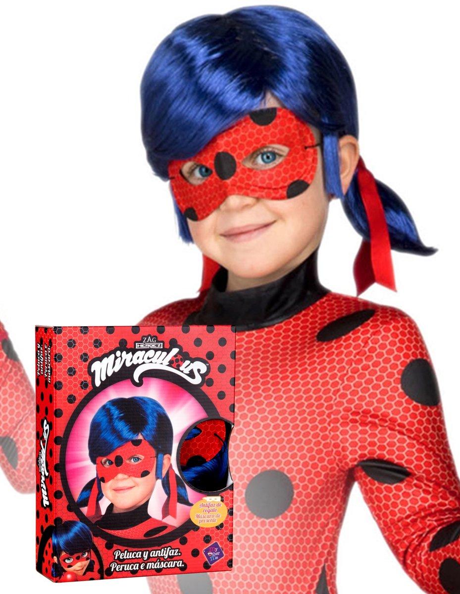 Cadeauverpakking Ladybug™ pruik en masker voor kinderen - Verkleedpruik