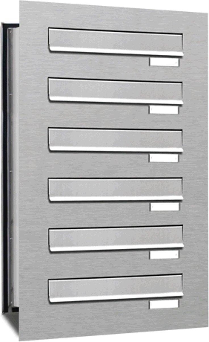 Inbouw brievenbus 6 adressen(1x6) inbouw