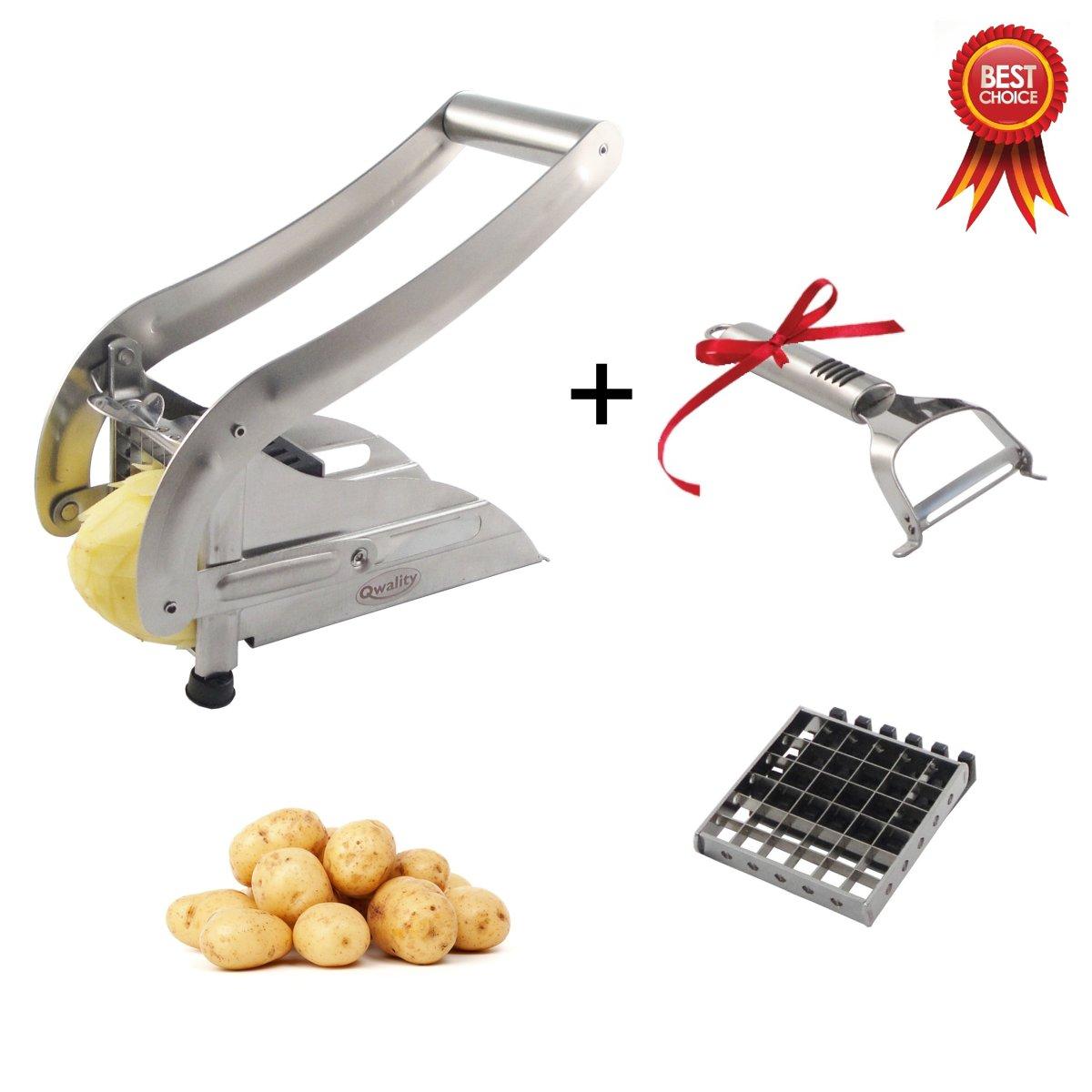 Frietsnijder + Gratis Dunschiller (RVS)   Aardappelsnijder   Patat Snijder   Franse Frieten   French Fries Potato Cutter   Qwality4u kopen