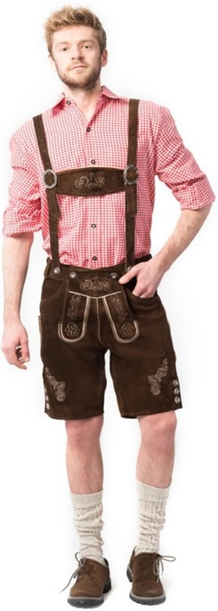 Lederhose voor mannen - Korte lederhosen - Ralf - Oktoberfest kleding - 100% leder - Maat L