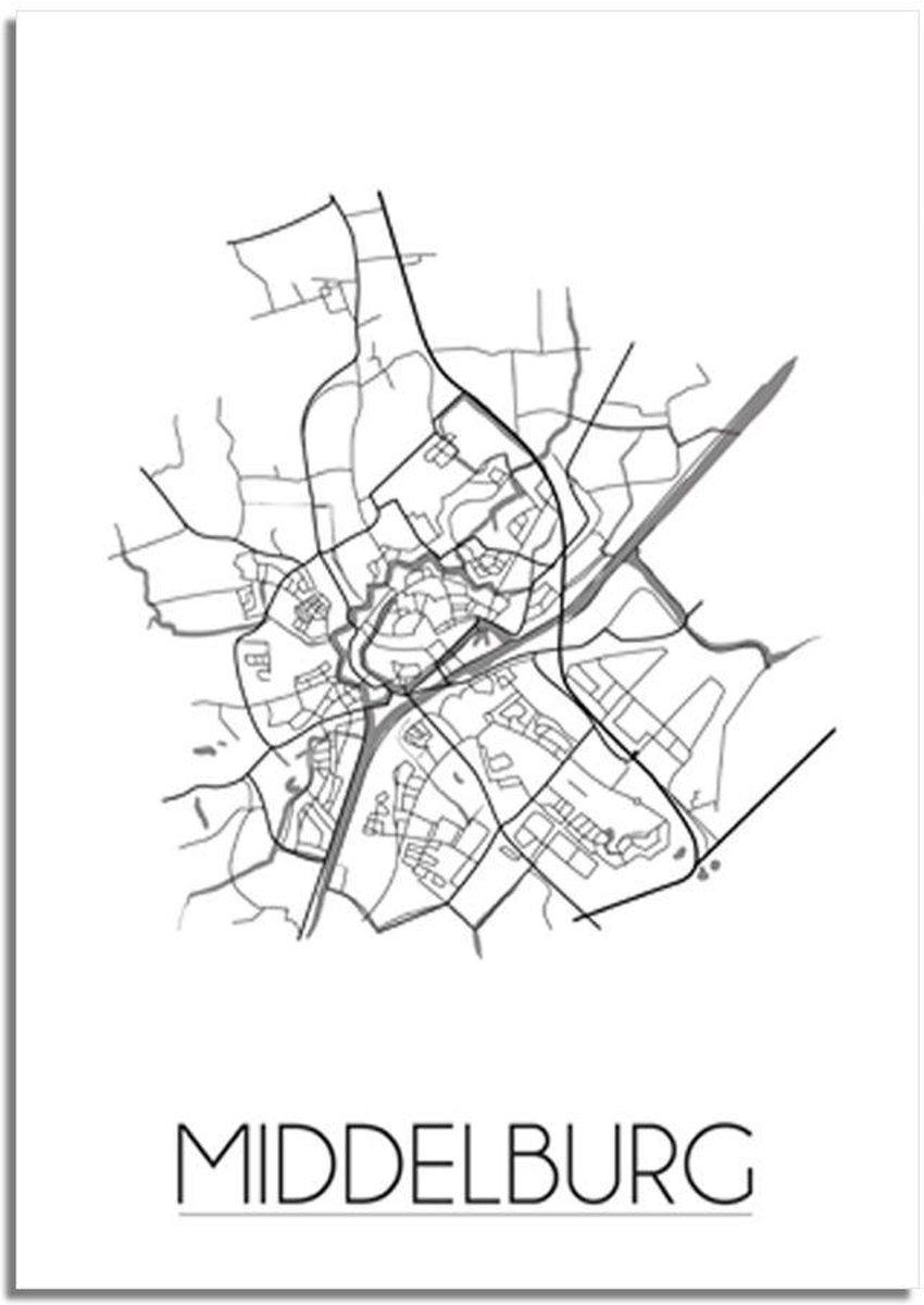 Plattegrond Middelburg Stadskaart poster DesignClaud – Grijs – A3 poster kopen