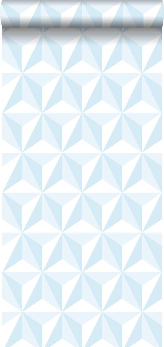 Behang Steigerhout Motief.Estahome Behang Grafisch 3d Motief Lichtblauw 138912
