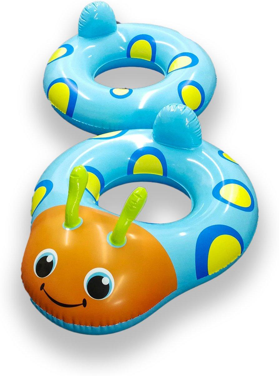 Playing Kids Koppelbare Blauwe Kevertjes Zwembanden voor 2 Kinderen – 160x65x65cm   Opblaasbare Zwemringen voor in het Water, Strand of Zwembad   Veilig Zwemmen   Zwemveiligheid   Zwemtrainer