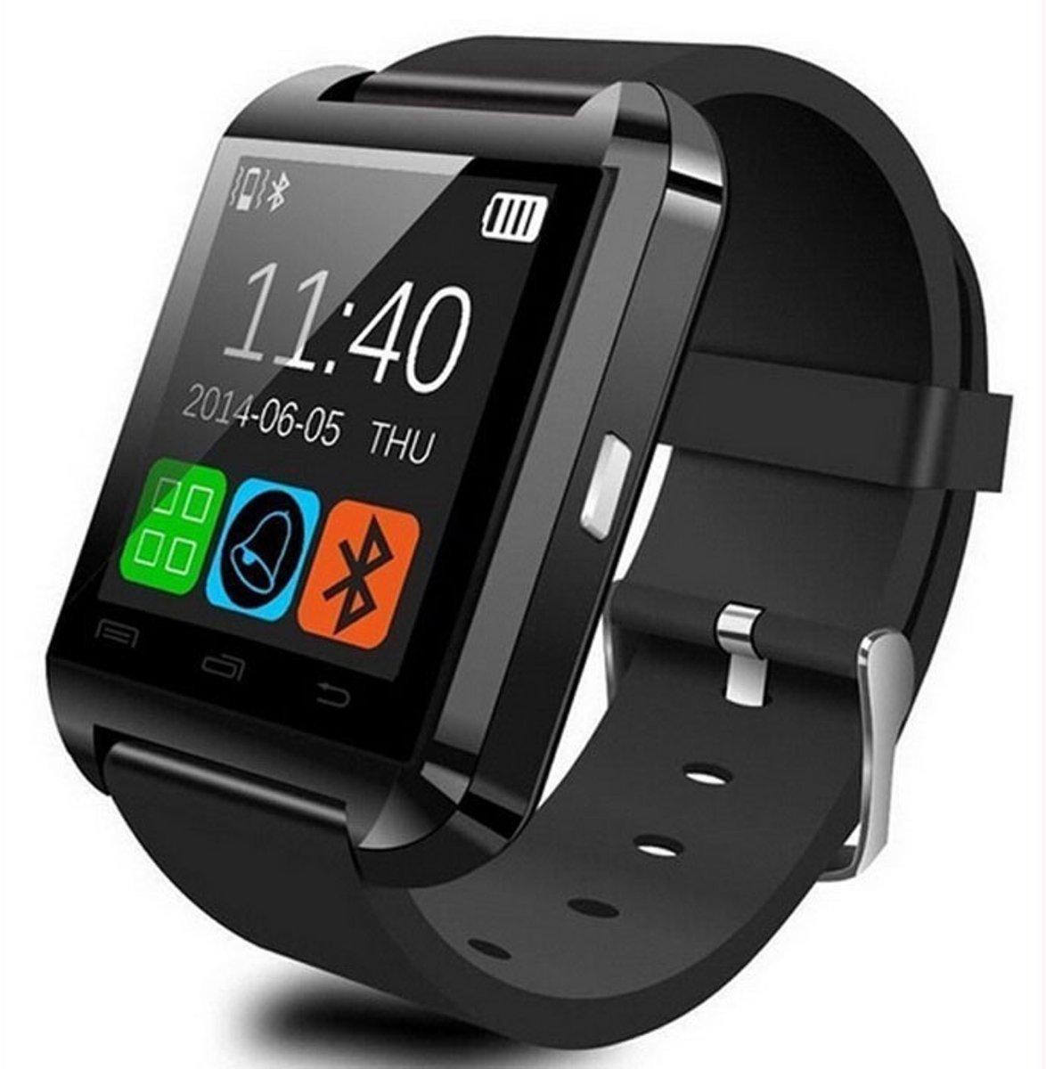 Afbeelding van Zwarte Smartwatch Uwatch U8 - Zwart met siliconen band