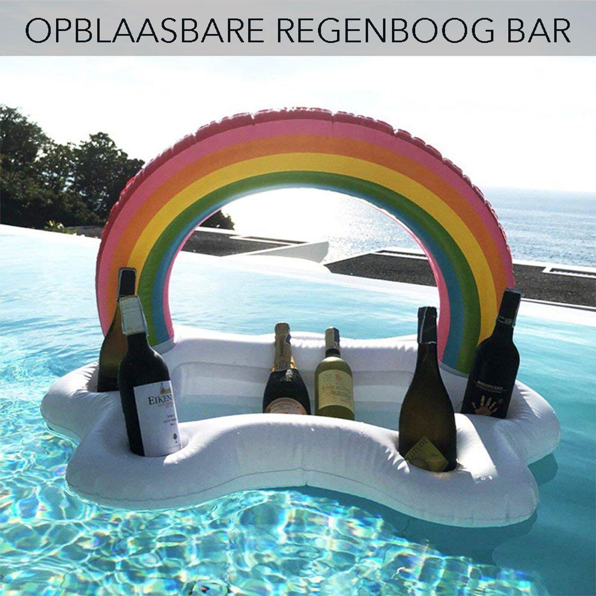 Opblaasbare Regenboog /wolk bar 5 flessenhouder drijvende, Drankhouder met fruit. Beste voor zwembad Party accessoires, zomer  fles houder Water Fun decoraties speelgoed voor kinderen en volwassenen. kopen