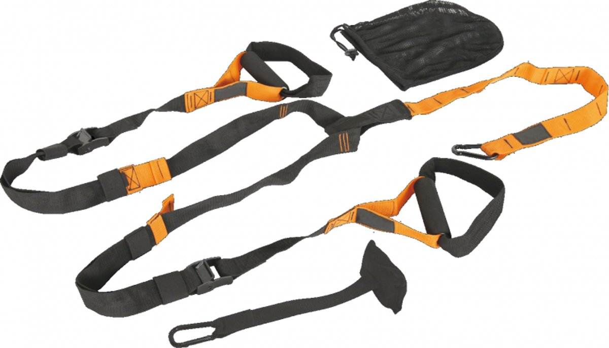RS Sports Suspension trainer - TRX - incl draagzak - Zwart/Oranje kopen