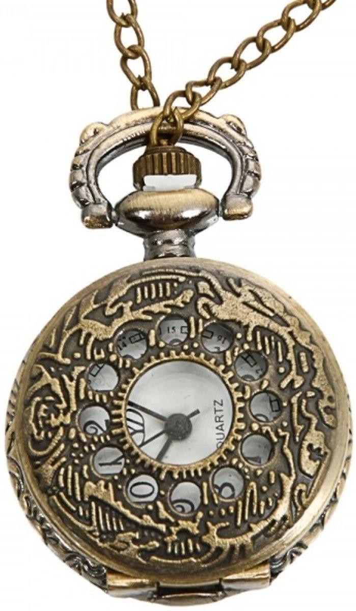 Ketting horloge flower brons  #42 kopen