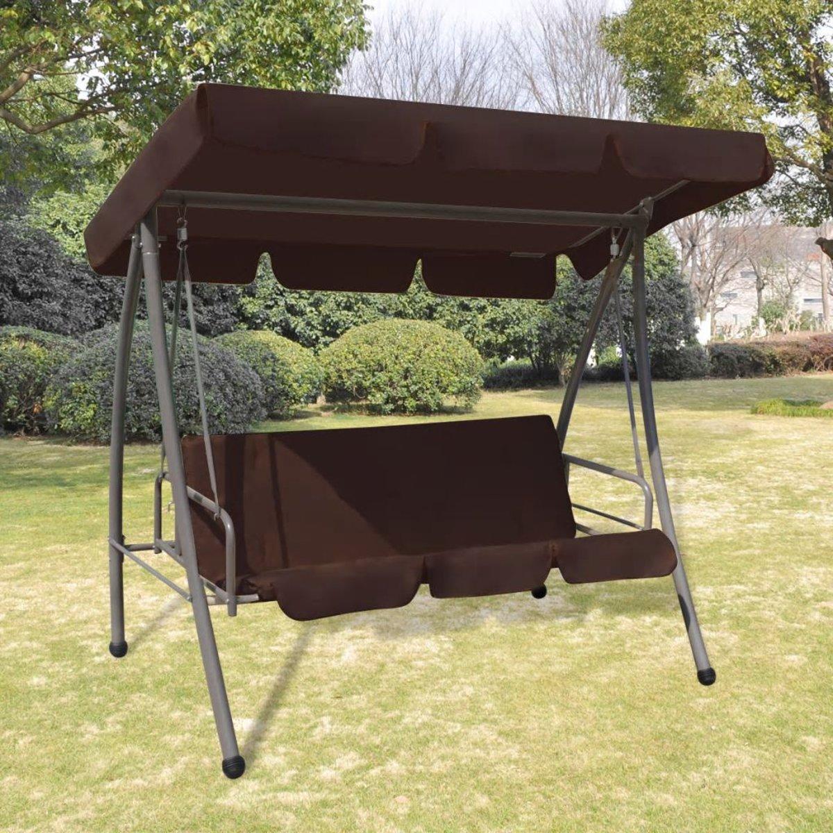 vidaXL Schommelstoel voor buiten met luifel koffiekleur kopen