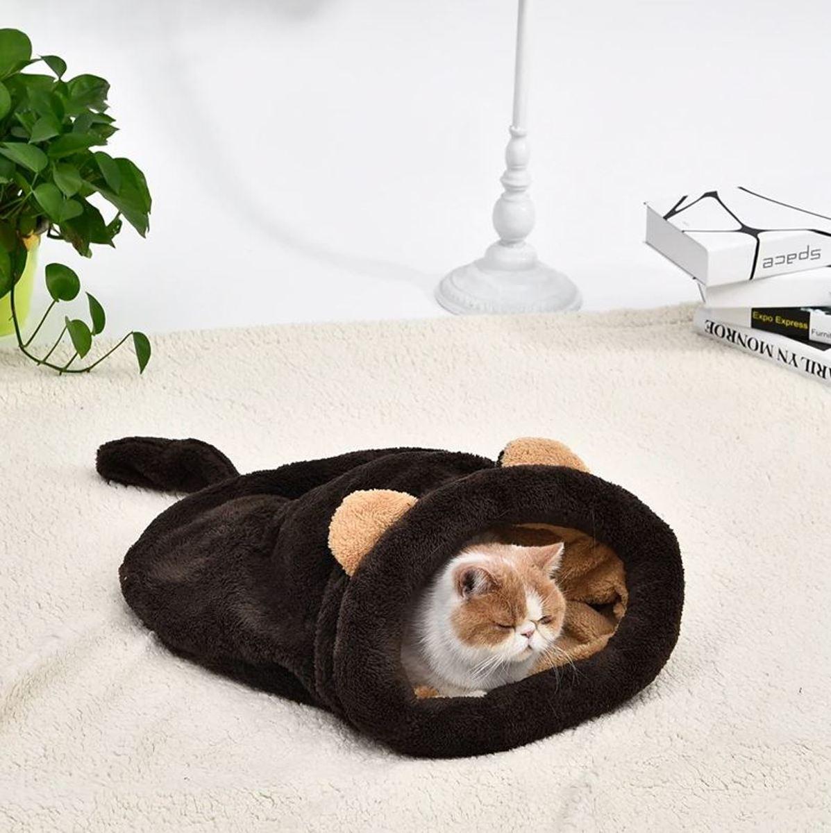 Kattenslaapzak Muis - Donkerbruin - 55 x 60 cm kopen