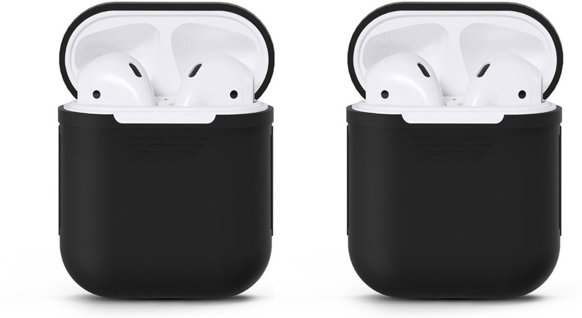 Case Voor Apple Airpods - Siliconen - Zwart- 2 Stuks kopen