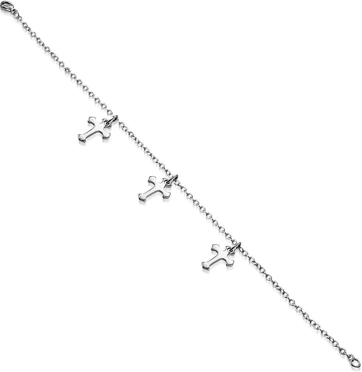 Amanto Armband Estelle Cross - Dames - 316L Staal - Bedel - Kruisje - 17-24 cm kopen