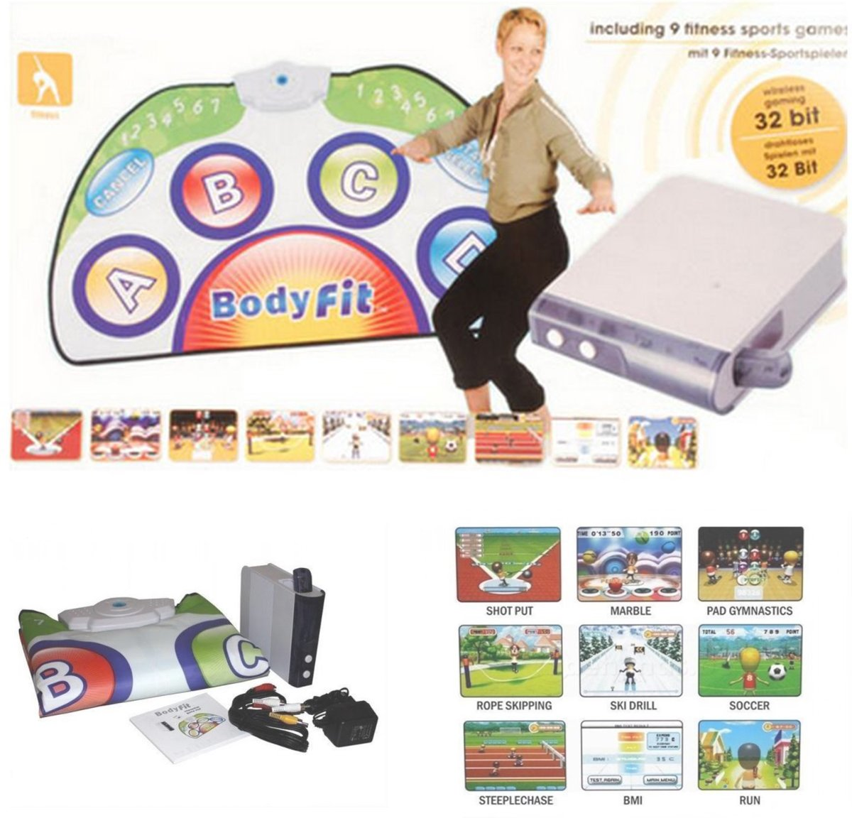 Body fit game set wireless console incl. 9 fitness sport games