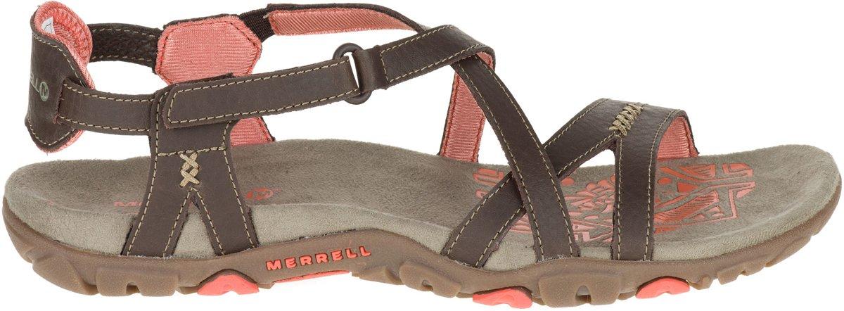 Merrell Sandspur Sandales De Randonnée En Cuir Rose - Taille 42 - Femmes - Brun Foncé / Rose XYG6i1e