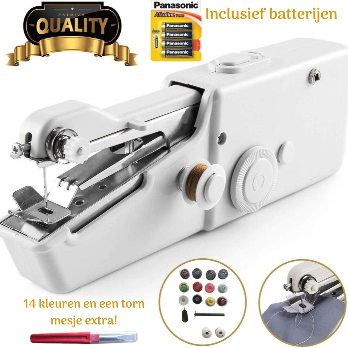 Original Sewyy Handnaaimachine – Mini Hand Naaimachine – 14 kleuren naaigaren Draagbaar - Incl. Panasonic batterijen - Elektrisch - Draadloos - Naaien - Vakantie - Reis kopen