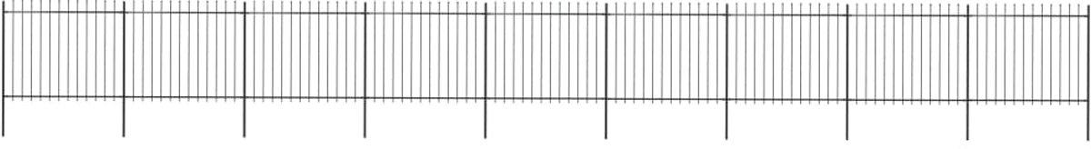 Tuinhek met speren bovenkant 15,3x1,5 m staal zwart (incl. Werkhandschoenen)