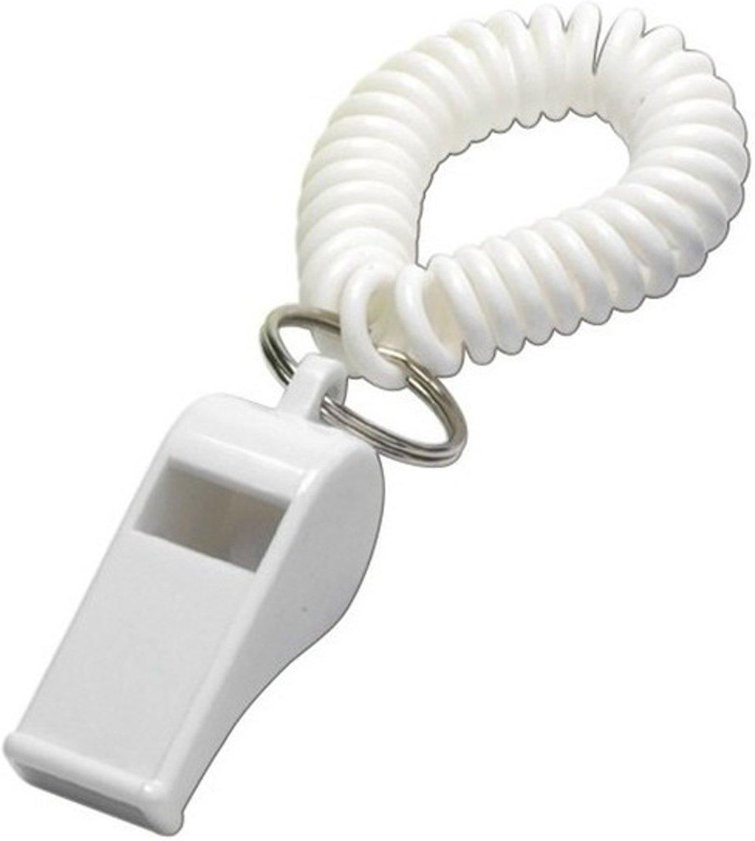 Wit fluitje aan polsbandje - Supporters/sportdag artikelen kopen