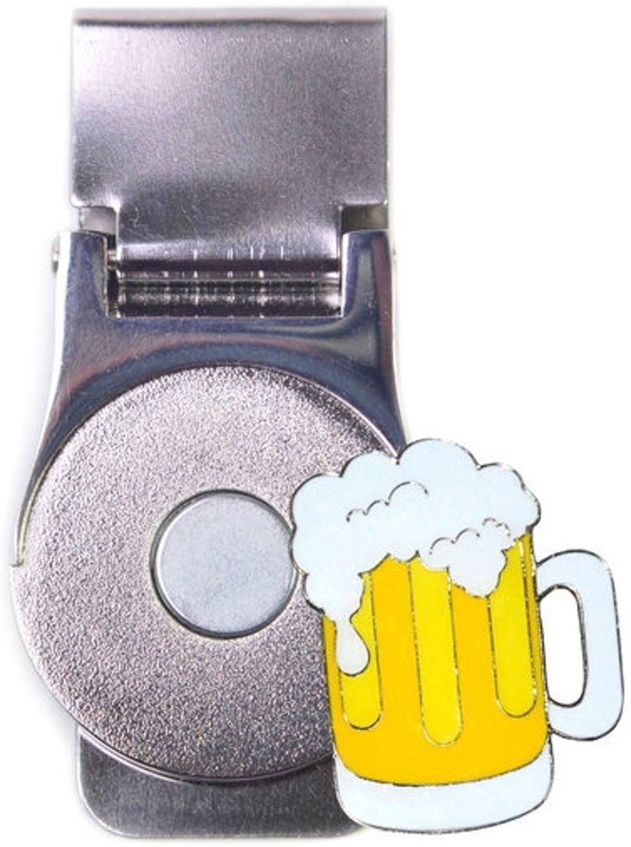 """Magnetische geldclip met glitzy golfbalmarker """"Bier"""" kopen"""