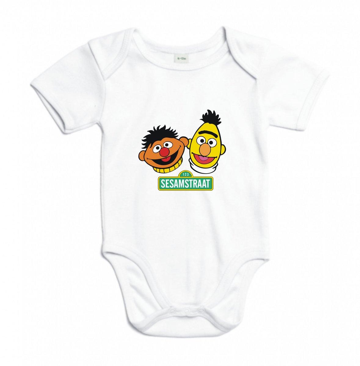 Baby rompertje Sesamstraat (Bert & Ernie) | Korte mouw 74/80 wit kopen