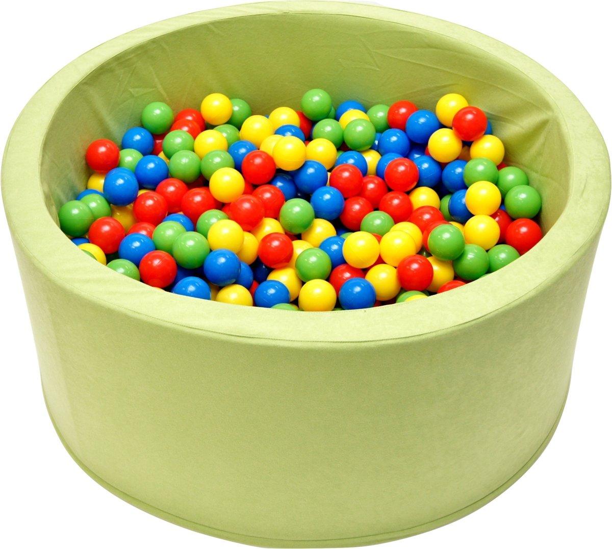 Ballenbak - stevige ballenbad -90 x 40 cm lichtgroen - 200 ballen Ø 7 cm - geel, groen, rood en blauw
