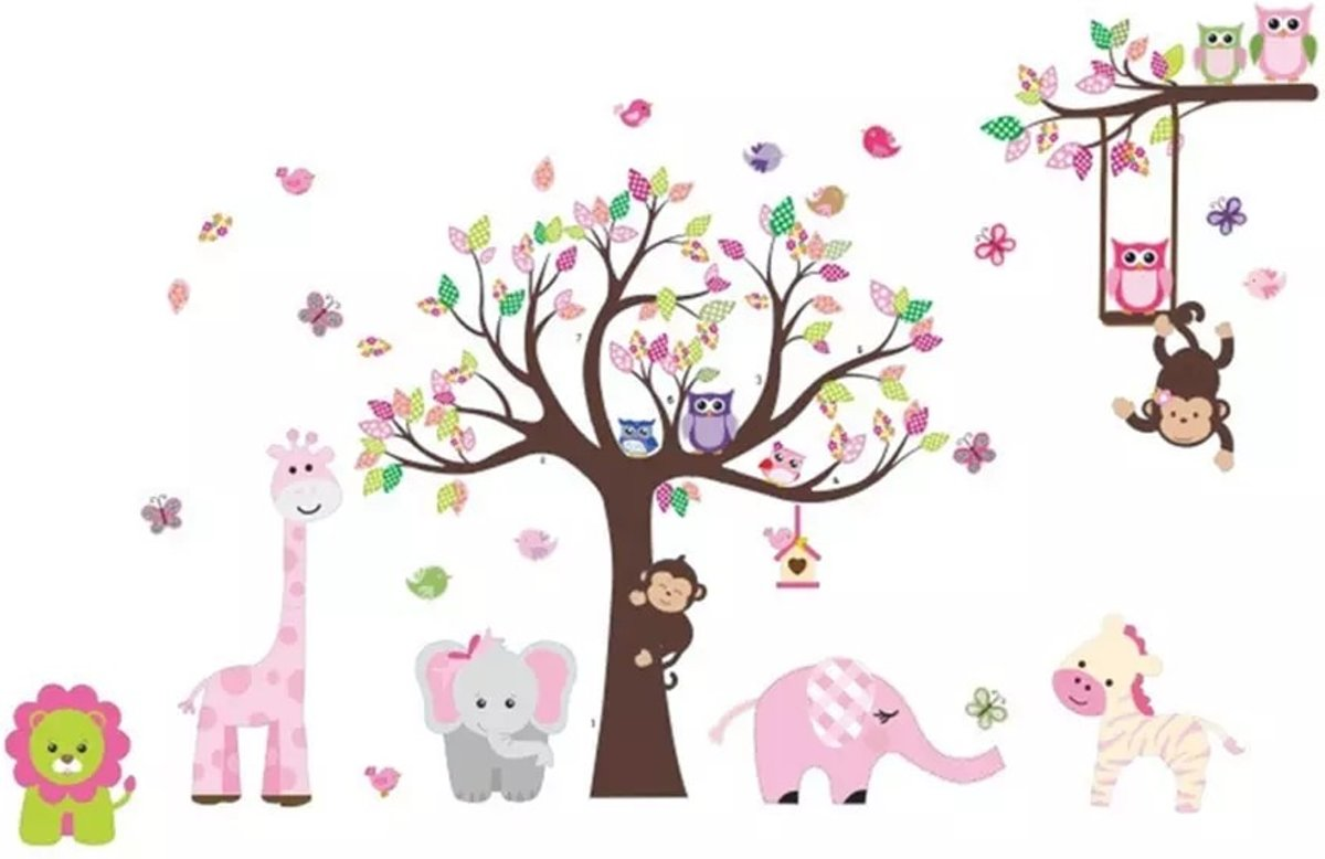 Decoratie Boom Babykamer.Muursticker Babykamer Kinderkamer Jongen Meisje Roze Multicolor Boom Dieren Zoo Uil Aap Olifant Giraf Leeuw Vlinder