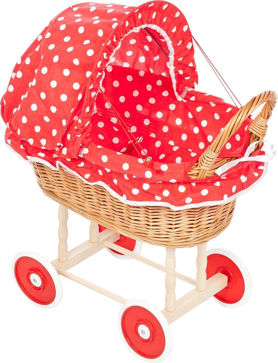 Rieten Poppenwagen - Stoffen Kap - Rood met stip