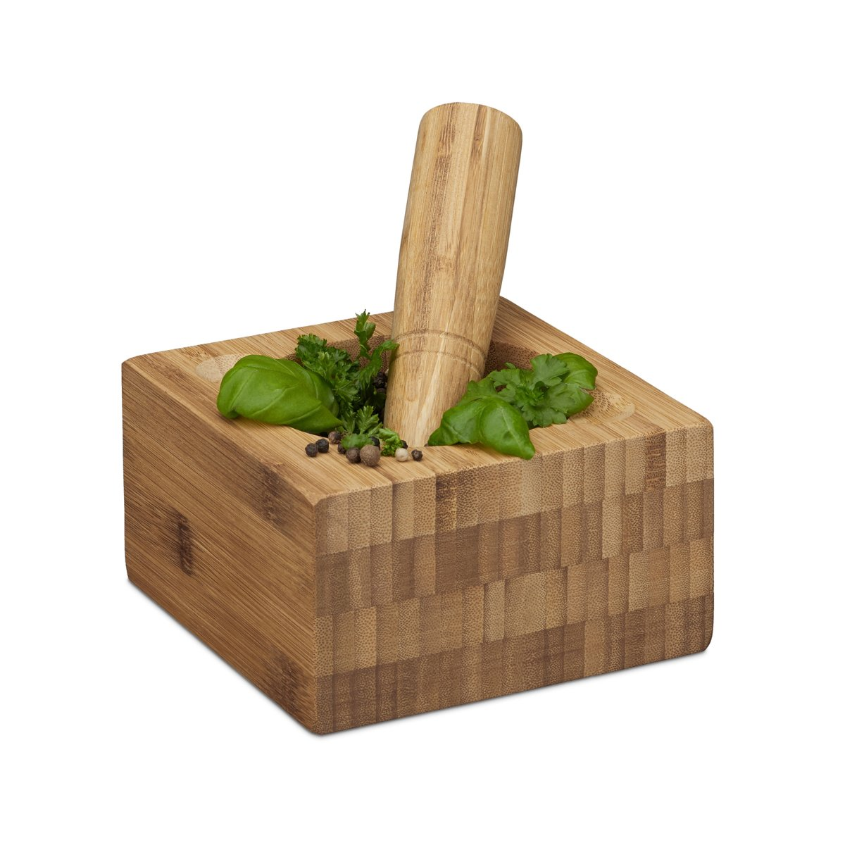 relaxdays vijzel met stamper, vijzel   stamper, keuken, kruiden, bamboehout kopen