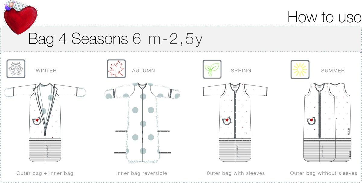50% korting Britse beschikbaarheid goedkoop kopen Puckababy Bag Slaapzak 4-seizoenen 6 m/2.5 y - Heart