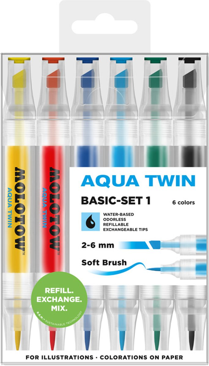 Molotow Aqua twinmarker set basic 1