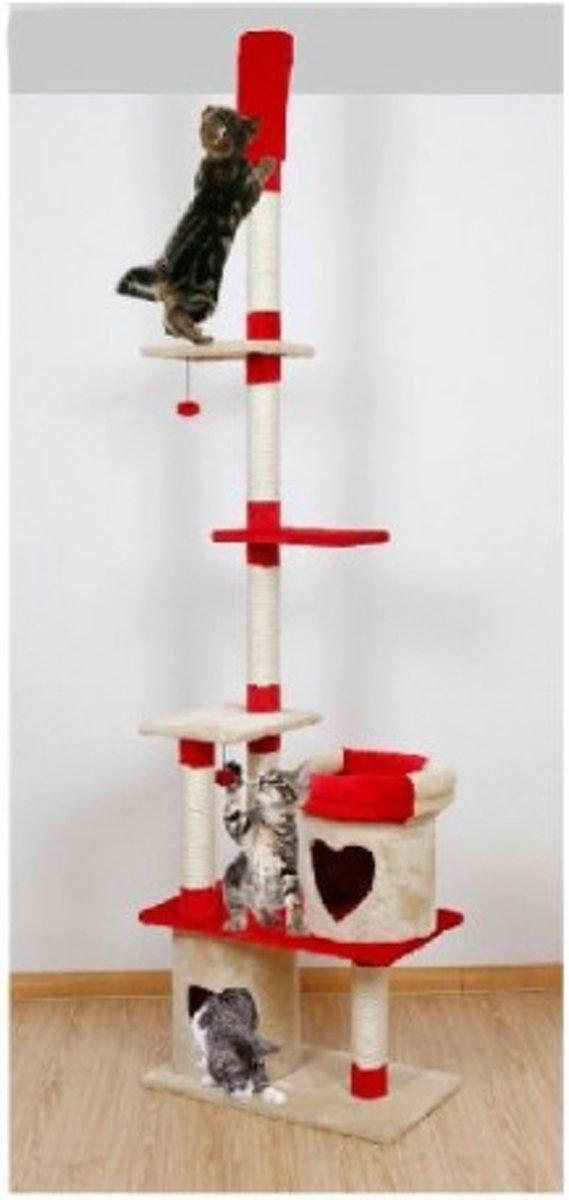 Topmast Krabpaal  PARCIVAL Beige-Rood | Plafondhoog | 70 * 40 * 250-270 cm