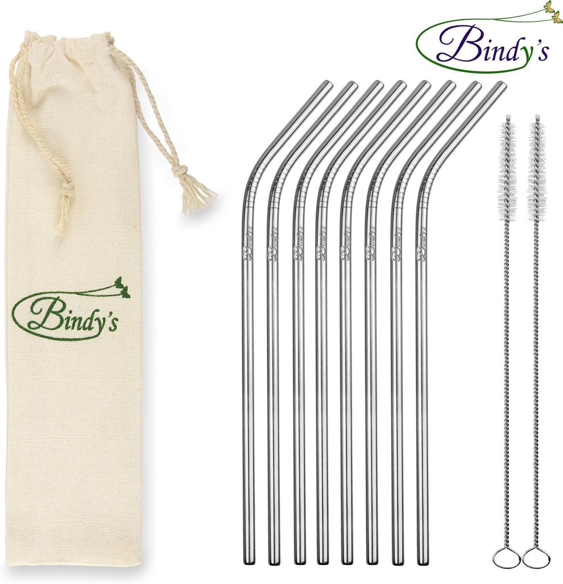 Bindy's RVS/Metalen Rietjes - Herbruikbare Set Van 8 Gebogen RVS Rietjes, Lengte 21,5 cm-Stijlvol, Functioneel en Duurzaam, Incl. 2 Schoonmaakborsteltjes en Linnen bewaarzakje