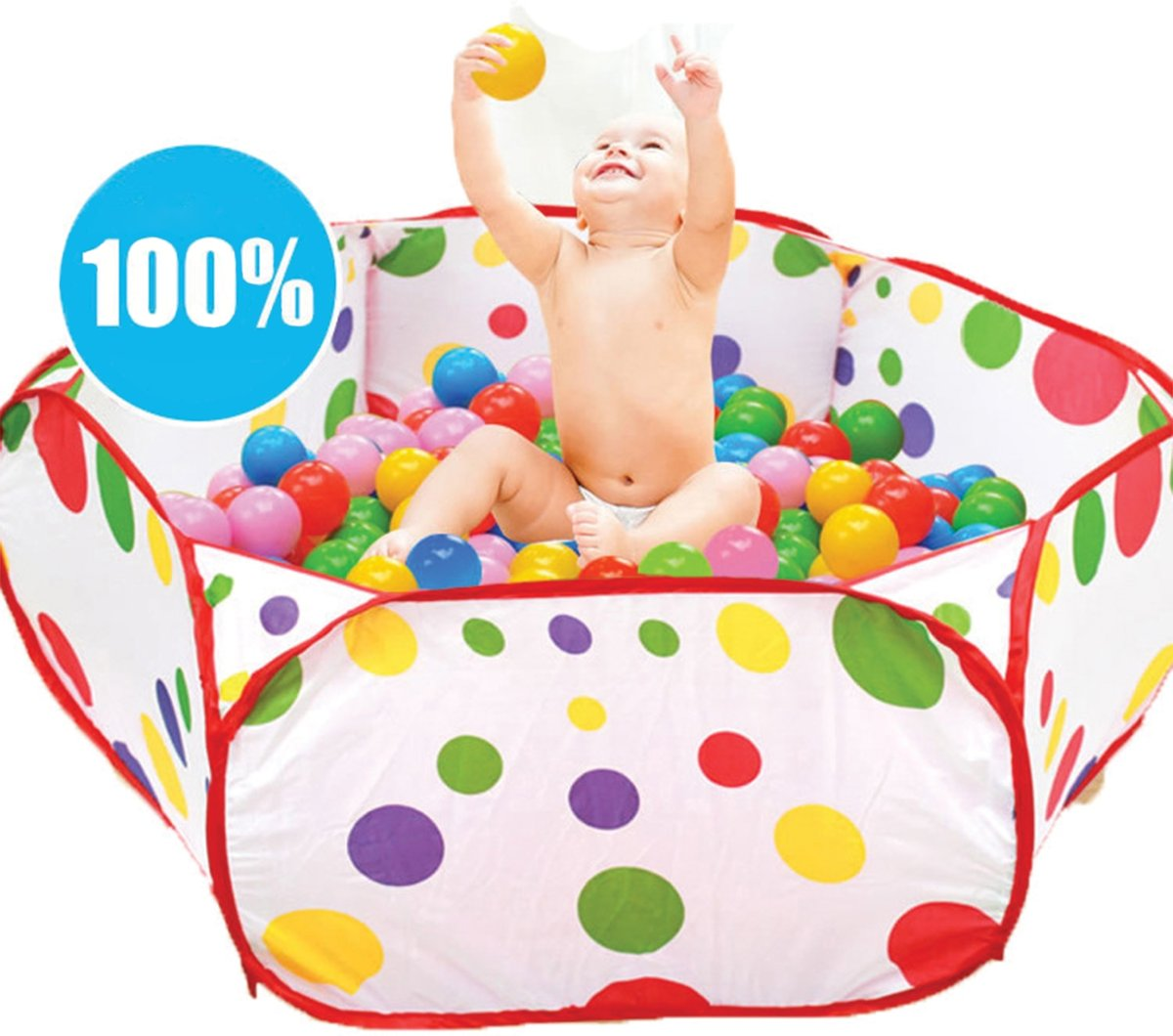 Eyzo Ballenbak met 50 Ballen - 120 x 120 x 37 cm - Ballenbad Set - Ø 5,5 cm Ballen - Multicolor Mix