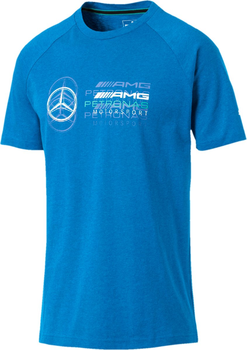 PUMA Mercedes AMG Logo Tee Shirt Heren - Indigo Bunting Heather