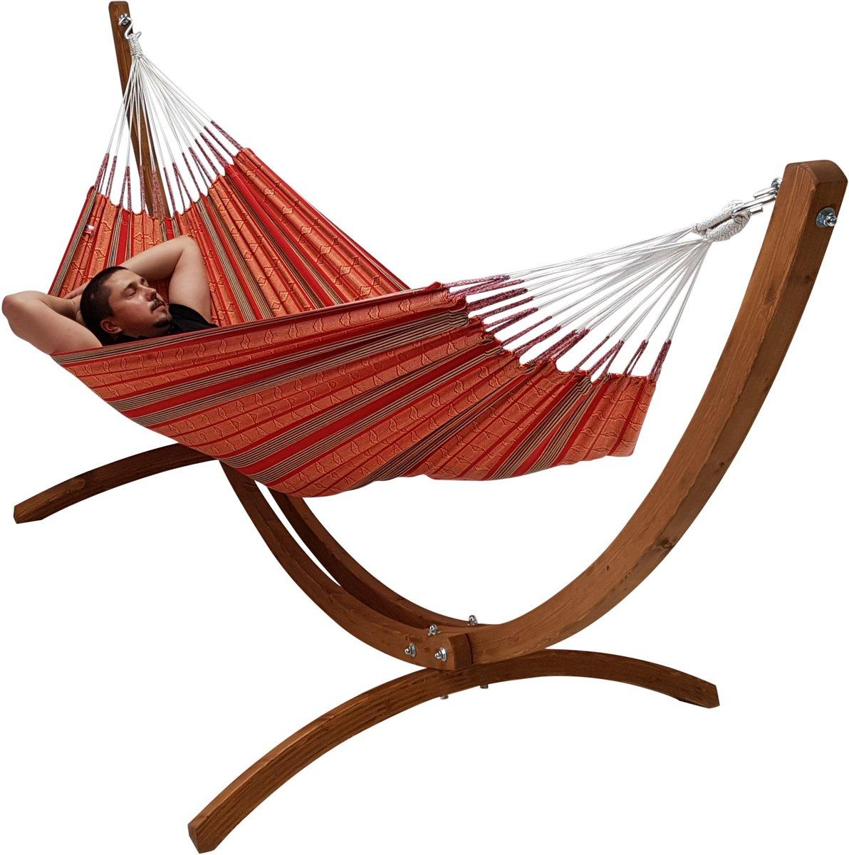 1-persoons hangmat rood met houten standaard