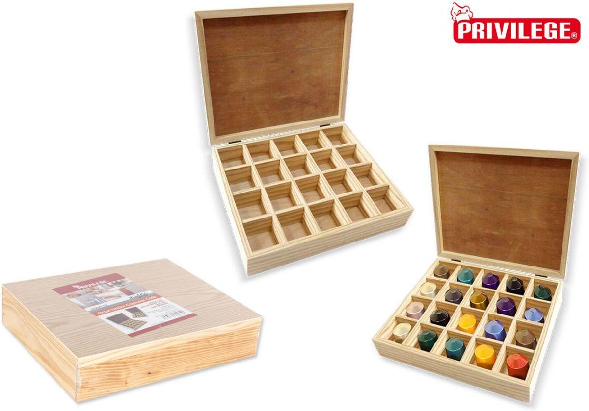 Privilege Houten Capsule Organiser - voor 20 capsules - 30 x 25 x 6 cm kopen